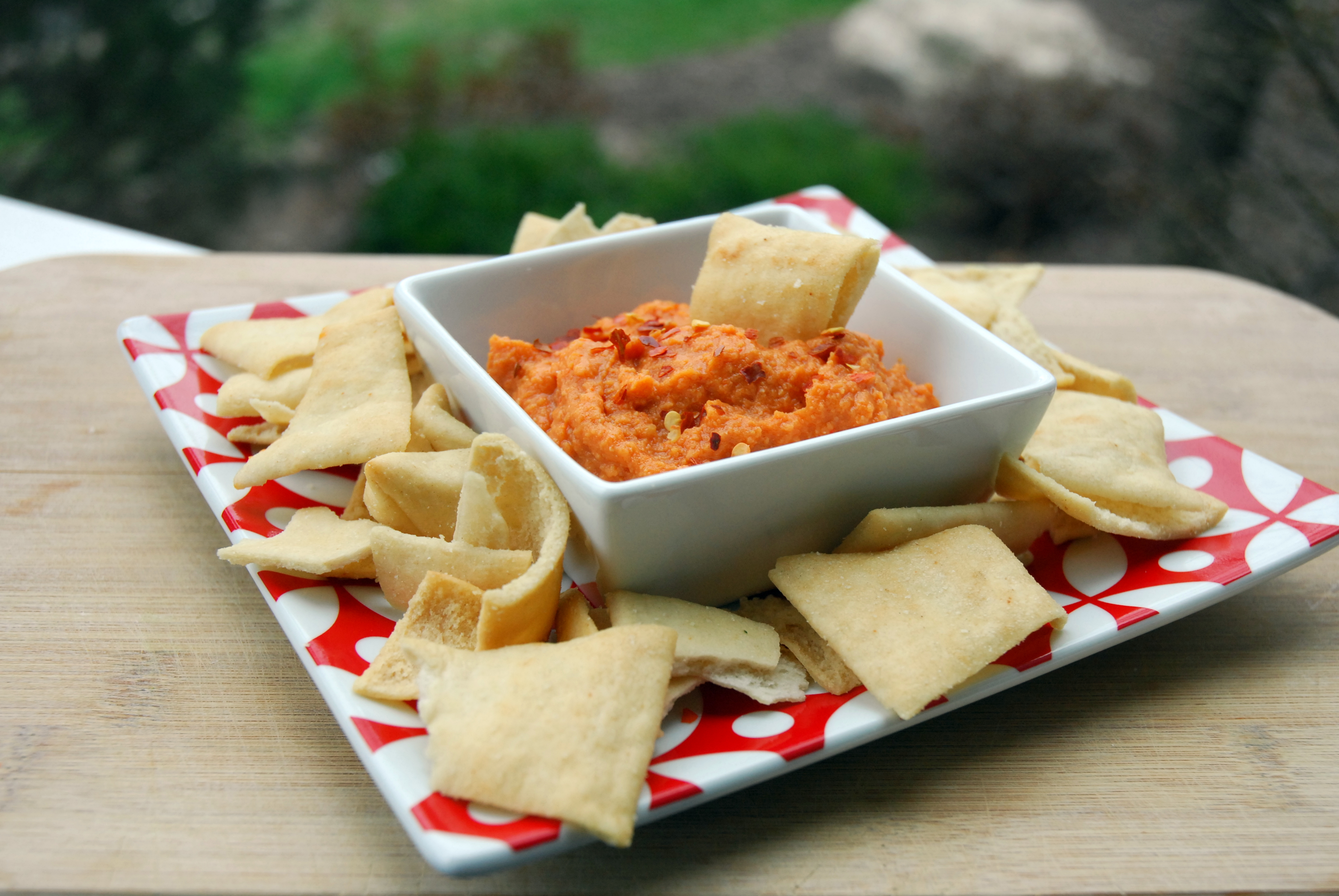 Roasted Red Pepper Hummus with Homemade Roasted Red Peppers |