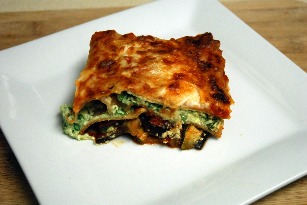 roasted vegetable lasagna plated 1