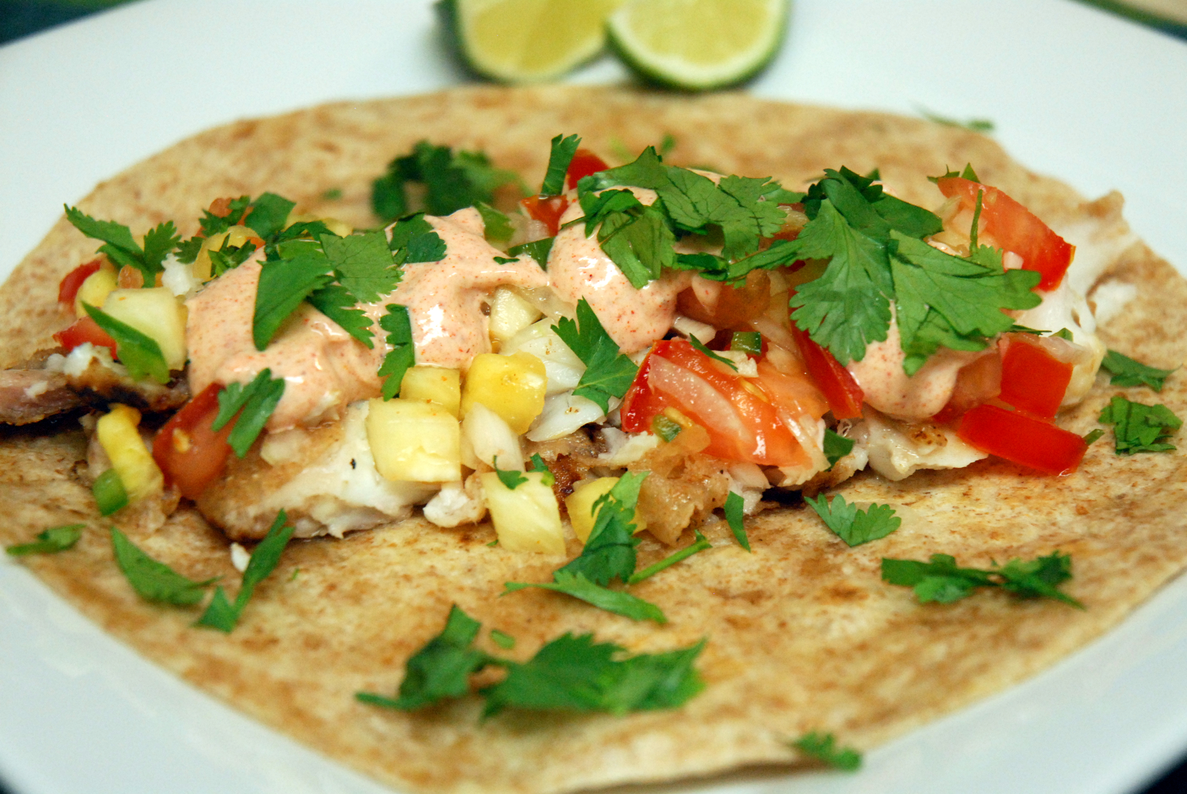 Tropical fish tacos with pineapple salsa and lime yogurt for What kind of fish for fish tacos