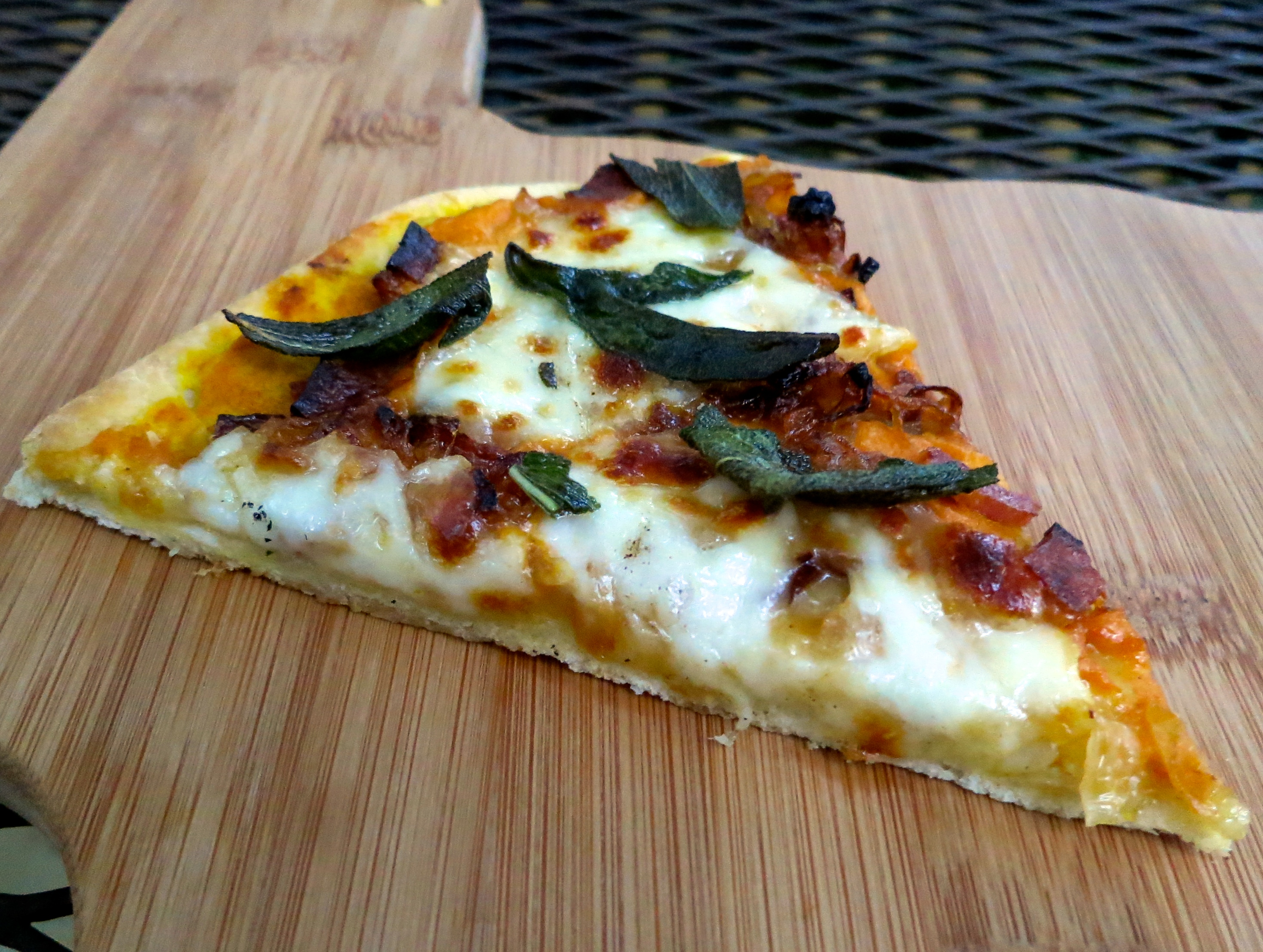 Pumpkin Sauce Pizza with Caramelized Onions, Bacon & Sage |